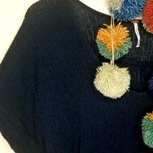 Free People Tops - 《Free People》Navy Blue Oversized Boho Gauze Tunic